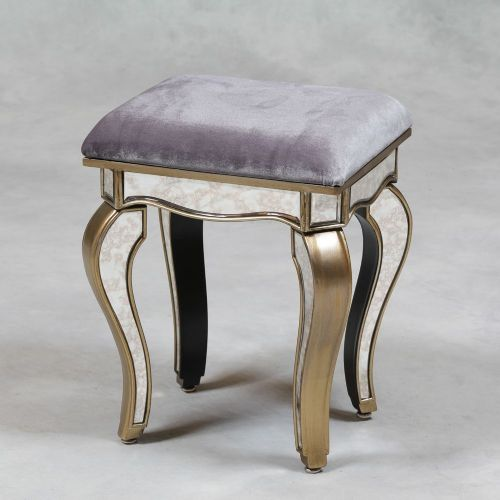 Venetian Antique Mirrored Silver Edged Stool